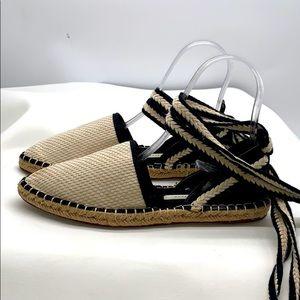 Zara TRAFALUC Lace Up Flats Sandals size 38